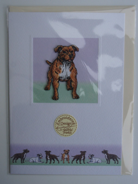 STAFFORDSHIRE BULL TERRIER EMBROIDERED GREETINGS CARD
